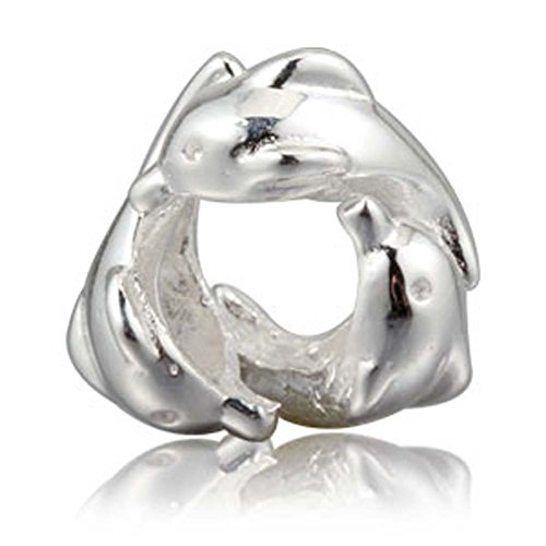 (Family Dolphin Charm 925 Sterling Silver Animal Charm Ocean Charm for Charms Bracelet(Silver))