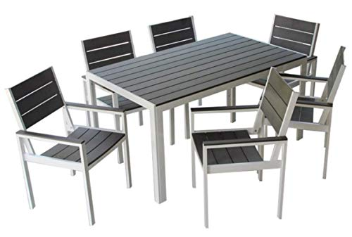 MARKT Supply Co Hand-Made, All Weather Outdoor Furniture, Premium 7-Piece Patio Dining Set | Palisades Collection | White w/Gray Wood