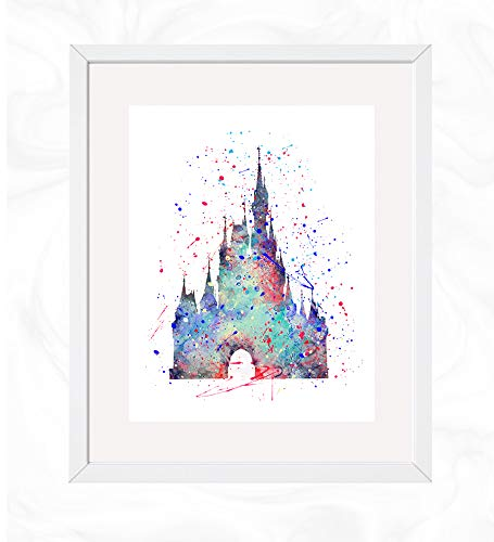 Cinderella's Castle Prints, Cinderella Disney Watercolor, Nursery Wall Poster, Holiday Gift, Kids and Children Artworks, Digital Illustration Art]()