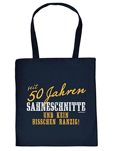 seit 50 Jahren SAHNESCHNITTE ... :Tote Bag Henkeltasche. Beutel mit Aufdruck. Tragetasche, Must-have, Stofftasche