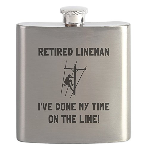 Buy cheap cafepress retired lineman stainless steel flask 6oz drinking