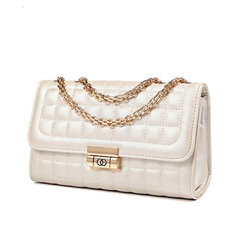Women's Classic Quilted Crossbody Purse Shoulder Bags Golden Chain Satchel Handbags (Beige)
