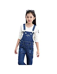 Girls Overalls Denim Jeans Cat Pattern Pants Kids Straight Trousers