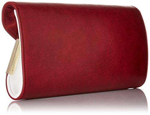 Métal Pochette Sac Blanc Rouge Synthétique Cuir BMC Réfractaire Rabat Mode Accent Main Femmes Enveloppe Brique À qxwXAnzf7T