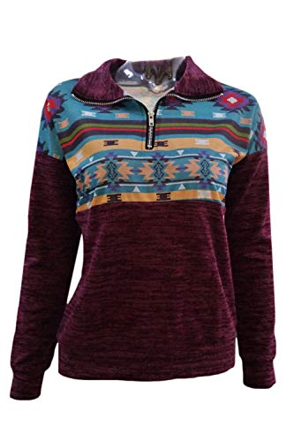 Demi Boho Manches Pull Winered Casual Pullver Zip Blouses Tops Femmes Floral Longues fw0qdfI