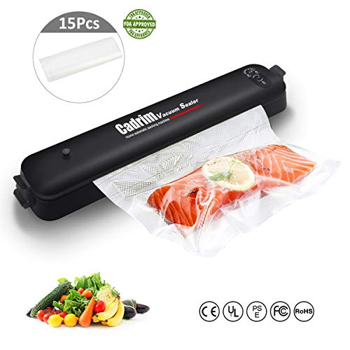 Cadrim Vacuum Sealer, Automatic Food Sealing Machine for Food Saver and Sous Vide Cooking with 15 Starter Bags