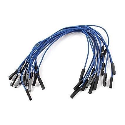 1pin 15pcs de doble cabezal 20cm Gato femenino Conector cable de puente azul