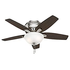 "Hunter Newsome Ceiling Fan with Light, 42""/Small 77 WhisperWind motor delivers ultra-powerful air movement with whisper-quiet performance so you get the cooling power you want without the noise you don't Reversible motor allows you to change the direction of your fan from downdraft mode during the summer to updraft mode during the winter 5 Medium Walnut / Dark Walnut Reversible blades included"