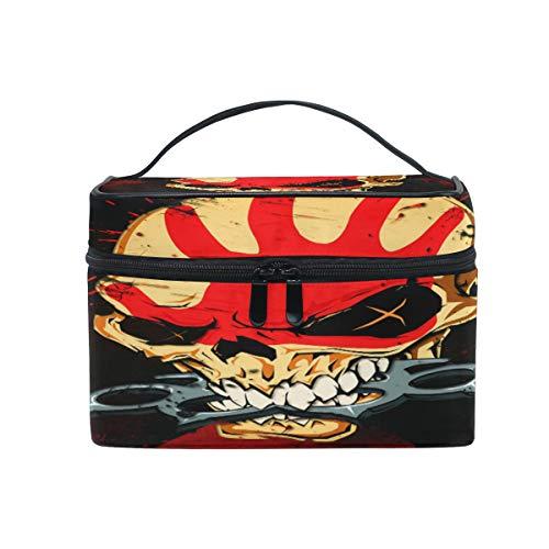Cutexl Cosmetic Bag Halloween Bloody Sugar Skull Large Makeup Brush Box Portable Travel Train Case Organizer for Women Lady