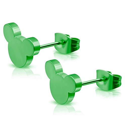 (Green Plated Stainless Steel Tiny Mouse Silhouette Button Stud Post Earrings )