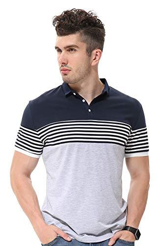 fanideaz Mens Cotton Half Sleeve Striped Polo T Shirt with Collar