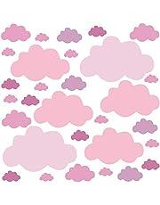 PREMYO 30 Wolken Muurstickers Kinderkamer Jongen - Muurtattoo Stickers Babykamer Zelfklevend Pastel Roze