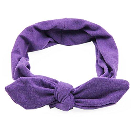 Pop Your Dream Vintage Adults Elastic Headband Cute Bunny Ears Bow Stylish Hairband Twisted Hair Decor Accessory Purple