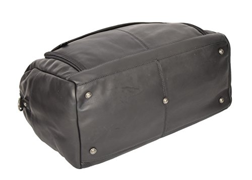 Black Real Leather Holdall Weekend Bag Business Travel Overnight Gym Bag Manila by A1 FASHION GOODS (Image #8)