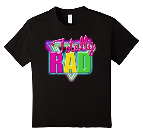 [Kids Totally Neon Retro Halloween Costume 1980s T-Shirt 6 Black] (80s Themed Outfits)