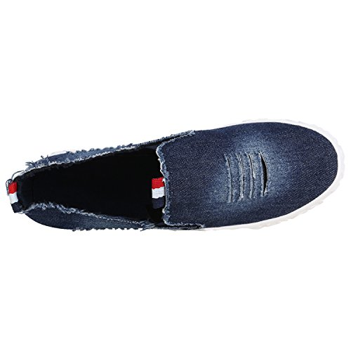 Damen Slip-Ons Glitzer Plateau Slipper Metallic Stoffschuhe Muster Denim Lack Schleifen Schuhe Flats Plateauschuhe Gr. 36-41 Flandell Dunkelblau Denim