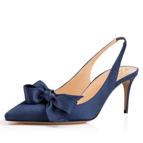 YDN Women Pointed Toe Slingback Satin Dress Pumps Stiletto Mid Heels Evening Prom Sandals with Bows Blue 8