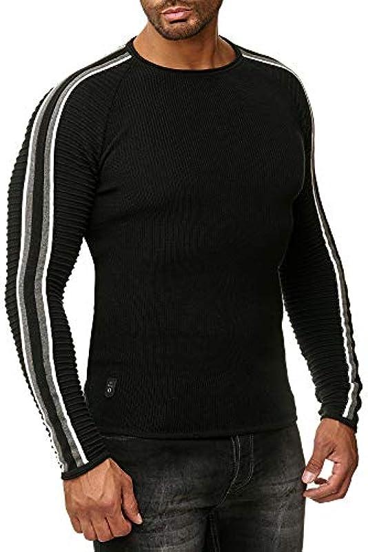 Red Bridge męski sweter z dzianiny w paski sweter prążkowany: Odzież