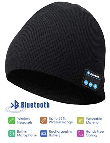 N//D Bluetooth Beanie Hat Knit Cap,Wireless Headset Music Hat,Tech Gifts for Man Women