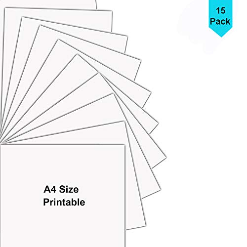 Printable Heat Transfer Vinyl HTV Inkjet Printer Dark T-Shirts Transfer, A4 Size Bundle 15 Sheets