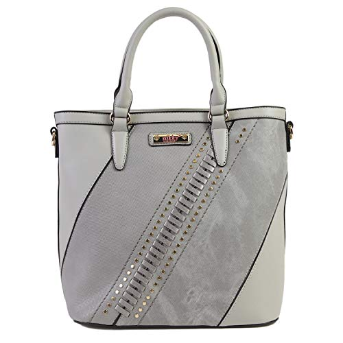 (Nikky Women's Metallic Color Block Gray Tote Bag with Detachable/Adjustable Shoulder Strap, Grey, One Size)