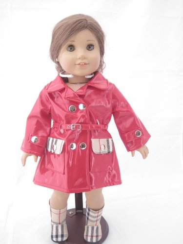 Unique Doll Clothing Red Designer Rain Coat and Matching Boots for American Girl Dolls and Most 18