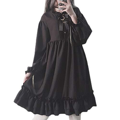 - Packitcute Long Sleeve Dress Teen Girls Japanese Gothic Lolita Dress Black