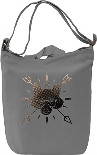 Hipster Style Racoon Logo Borsa Giornaliera Canvas Canvas Day Bag| 100% Premium Cotton Canvas| DTG Printing|