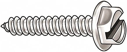 Package of 100 #8 x 1 1//2 in Plain 18-8 Stainless Steel Sheet Metal Screw with Hex Washer Head Type