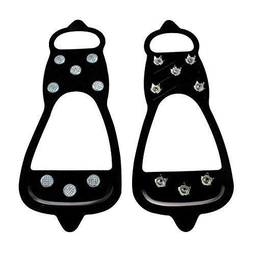 FOONEE Anti Slip Shoe Grippers, Boot Traction Cleat Rubber Spikes, Traction Cleats Ice Cleat Snow Grippers Non-Slip Over Shoe ()