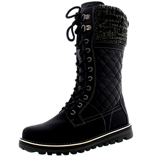 s Winter Thermal Snow Outdoor Warm Mid Calf Waterproof Durable Boot - Black Leather - US10/EU41 - YC0379 ()