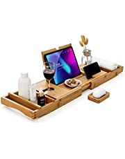 Eletecpro Bamboo Bathtub Caddy Tray with Sliding Towel Holder, Wine Holder, Cup Placement, Soap Dish, Book Space & Phone Slot,Adjustable Natural Wood Bath Tub Organizer for Spa, Bathroom & Shower