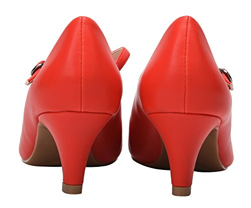 CAMSSOO Women's Girls' Round Toe Stilettos Ankle Strappy Kitten Heels Wedding Dancing Court Shoes Red Soft PU N7x6Ywsz
