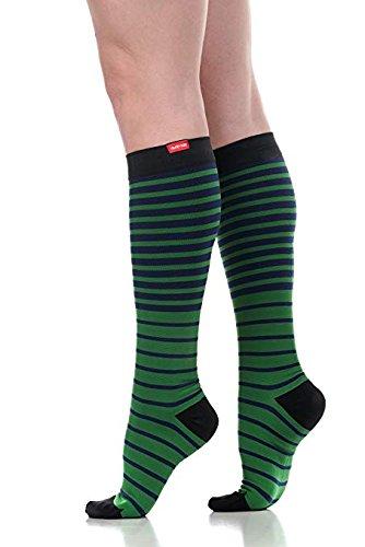 137d3b69c0 VIM & VIGR Women's 15-20 mmHg Compression Socks: Falling Stripe - Green &