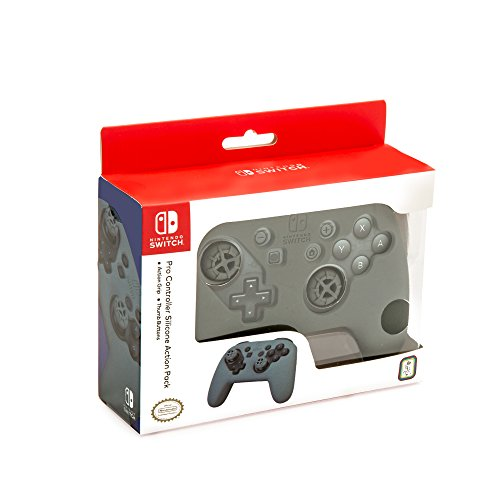 Nintendo Switch Pro Controller Action Grip and Thumb Grips - Grey Textured Silicone - Official Nintendo Licensed Product