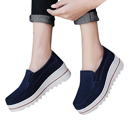 VEMOW Sandals for Women, Trainers Mary Janes Cute Lace-up Flats Flip Flops Thongs Espadrilles Wedge Running Walking Dance, Flats Muffin Sneakers Leather Creepers Moccasins Dark Blue