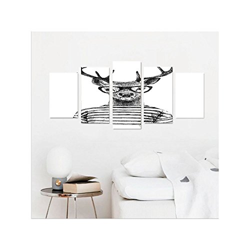 Turquoise Striped Wallpaper (Liguo88 Custom canvas Deer Decor Collection Dressed Up Deer Reindeer Headed Human Hipster Style with Glasses Striped Shirt Design Bedroom Living Room Wall Hanging Black White)