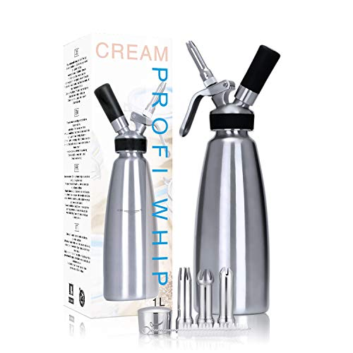 - UPSTONE Professional Whipped Cream Dispenser Stainless Steel Cream Canister With 3 Nozzles - Gourmet Whip Plus (Cartridges Not Included) (1L, Stainless Steel)
