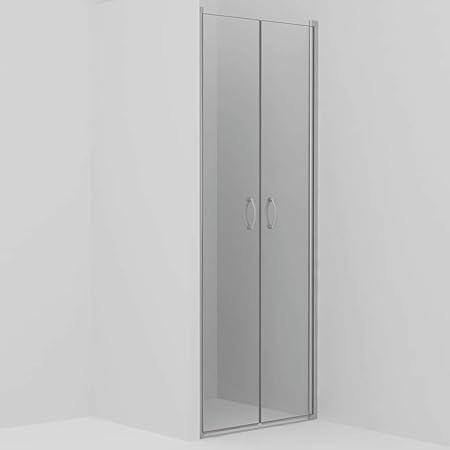 vidaXL Mampara Ducha Frontal 2 Puertas Pivotante Cristal Seguridad Vidrio Templado ESG Aluminio Cabina Baño Transparente Cierre Plato Bañera 80x185 cm: Amazon.es: Hogar