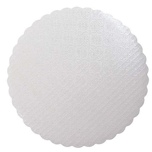 O'Creme White-Top Scalloped Round Cake and Pastry Board 3/32 Inch Thick, 8 Inch Diameter - Pack of - Scalloped Base