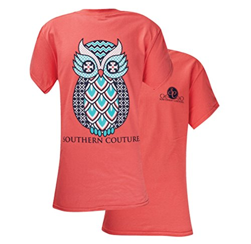 (Southern Couture Women's Geo Owl Short-Sleeve Tee Shirt, Small, Coral)
