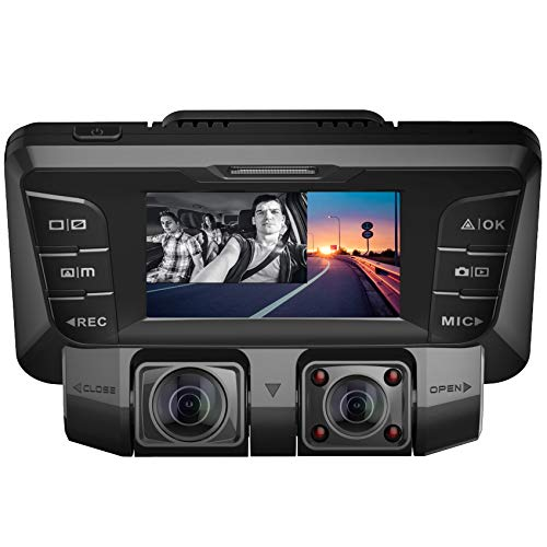 Pruveeo C2 Dash Cam with Infrared Night Vision, Dual 1080P Front and Inside, Dash Camera for Cars Uber Lyft Truck Taxi