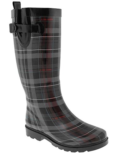 Capelli New York Shiny Scottish Plaid Printed Ladies Tall Rubber Rain Boot