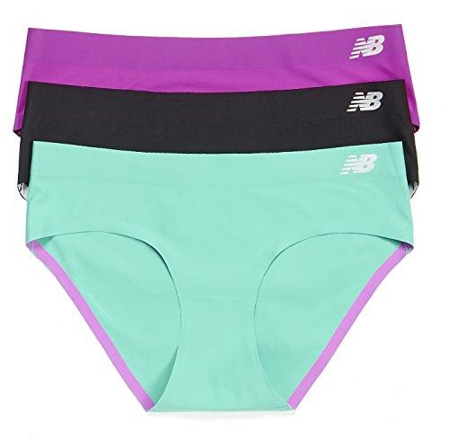 New Balance Mujer Bond Hipster Panty 3-Pack Azalea Purple/Black/Reef Green