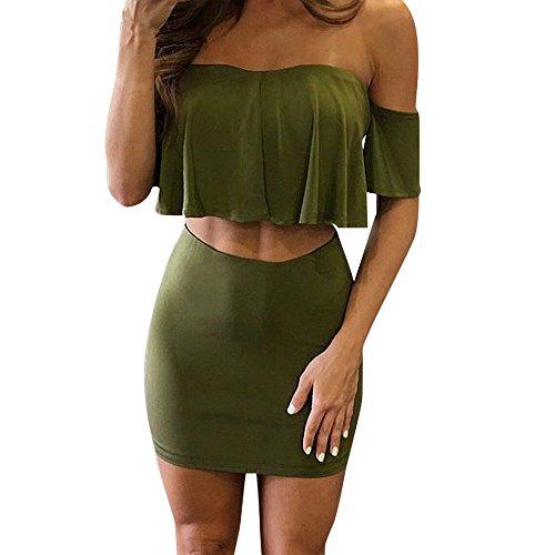 FNKDOR Mujer Apagado Hombro Dos Piezas Clubwear Conjunto de falda de fiesta con volantes Verde