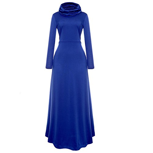 Uni Robe Maxi Manche blue Haut Femme Taille Lache Grande Automne Casual Semen Col Printemps Longue 5OqTSSdw