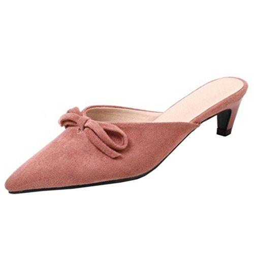 TAOFFEN Women Small Heel Sandals Shoes Bowknot Mules Pink
