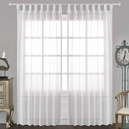 (Selectex Linen Look Pom Pom Tasseled Sheer Curtains – Tab Top Voile Curtains for Living and Bedroom, Set of 2 Curtain Panels (52 x 84 inch, White))