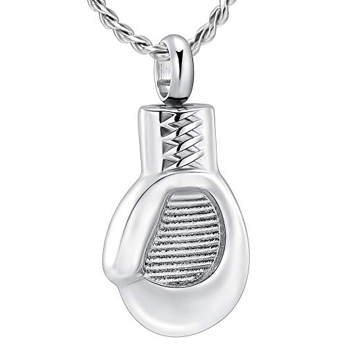 Imrsanl Cremation Jewelry for Ashes Boxing Glove Pendant Keepsake Memorial Charms Urn Necklace for Men Women (Silver)