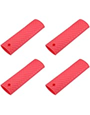 uxcell Silicone Hot Handle Holder Sleeve, Pan Pot Handle Cover Red 6.1-inch Long 4Pcs